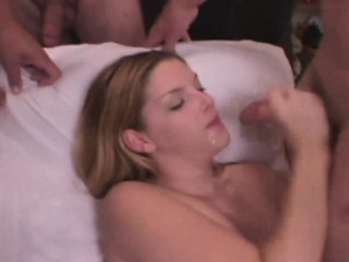 Candi Apple bukkake on her face and tits