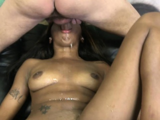 Daisy the ratchet choked by white dicks