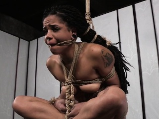 Suspended ebony slut punished with breathplay