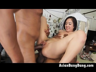 Two Large Black Dongs Ship Facial To Asian Mila Jade