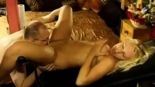 Attractive blonde has a nerdy man devouring and banging her candy peach