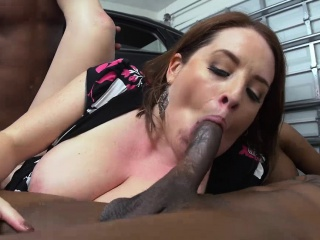 Sexy cougar Maggie pounded by mechanics on obligation